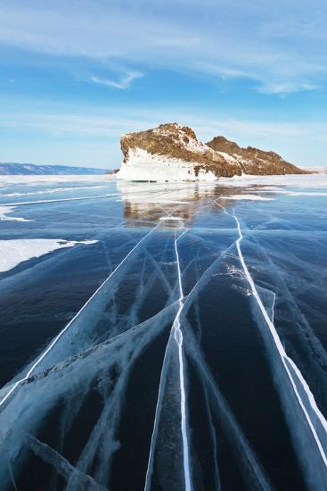 Baikal in February. the Cracks on Smooth Blue Ice-katvic-Photographic Print