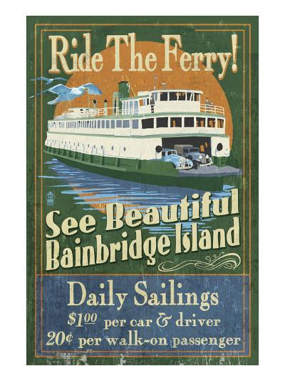 Bainbridge Island, Washington - Ferry Ride-Lantern Press-Art Print