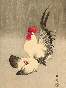 Rooster and Hen by Bairei Kono