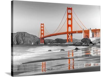 Baker beach and Golden Gate Bridge, San Francisco--Stretched Canvas Print