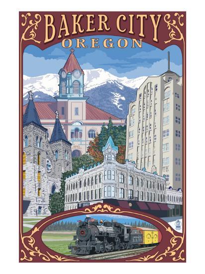 Baker City, Oregon - Town Views-Lantern Press-Art Print