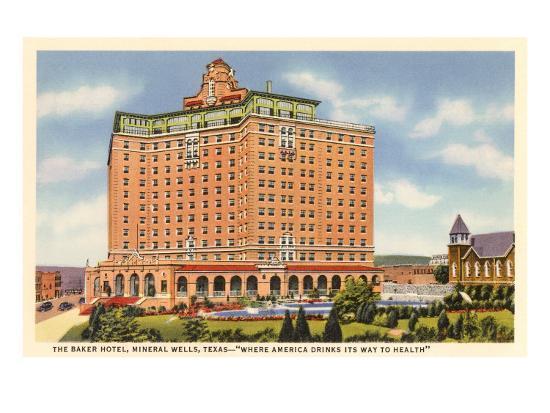 Baker Hotel, Mineral Wells, Texas--Art Print