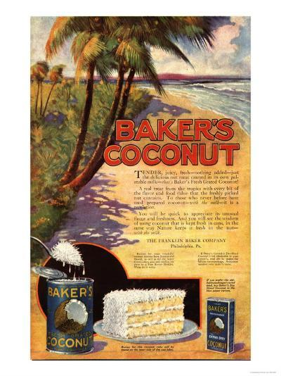 Bakers Coconuts Cakes Baking Cocoanuts, USA, 1910--Giclee Print