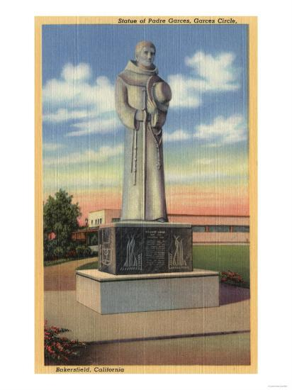 Bakersfield, California - Statue of Padre Garces in Garces Circle-Lantern Press-Art Print