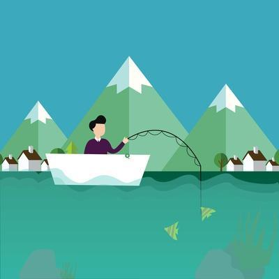 Man Fishing in Boat with Mountain Scenery Behind