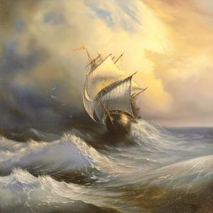 Ancient Sailing Vessel In Stormy Sea by balaikin2009