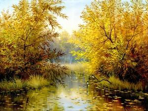 Autumn Wood Lake With Trees And Bushes by balaikin2009