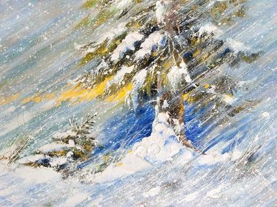 Fir-Tree In Snow. A Picture Drawn By Oil