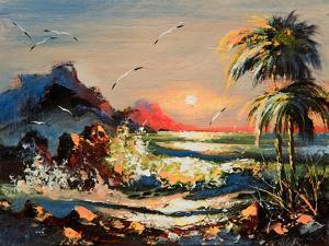 Sea Landscape With Palm Trees And Seagulls by balaikin2009