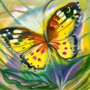 The Yellow-Red Butterfly In Flight by balaikin2009