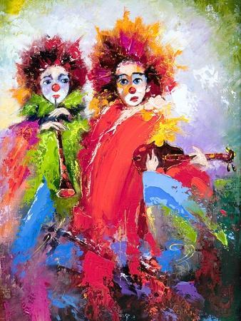 Two Clowns With A Violin And A Pipe