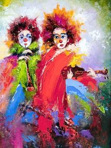 Two Clowns With A Violin And A Pipe by balaikin2009
