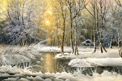 Winter Landscape With The Wood River by balaikin2009