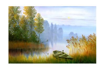 Wooden Boat On The Bank Of Lake On A Decline by balaikin2009