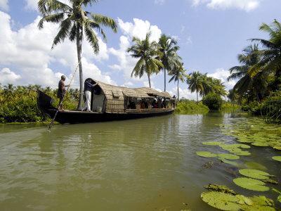 Houseboat in Murinjapuzha, Near Vaikom, Kerala, India