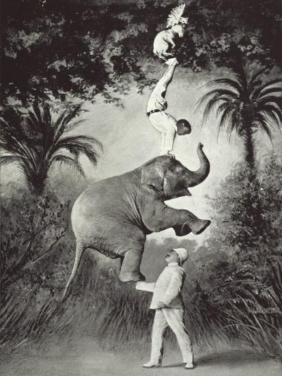 Balancing An Elephant!-The Vintage Collection-Giclee Print
