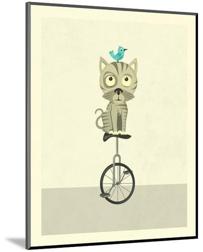 Balancing Cat-Jazzberry Blue-Mounted Print