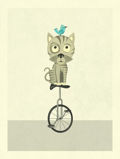 Balancing Cat-Jazzberry Blue-Art Print