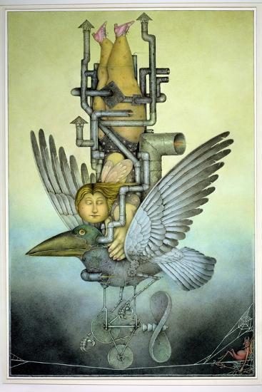 Balancing Girl on Mechanical Bird on Tightrope-Wayne Anderson-Giclee Print