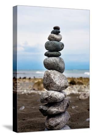 Balancing Rocks on Beach Photo Poster Print