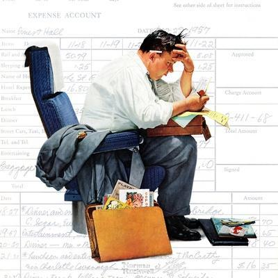 """Balancing the Expense Account"", November 30,1957-Norman Rockwell-Premium Giclee Print"