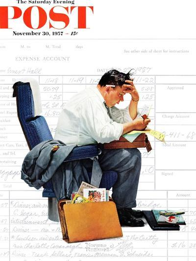 """""""Balancing the Expense Account"""" Saturday Evening Post Cover, November 30,1957-Norman Rockwell-Giclee Print"""