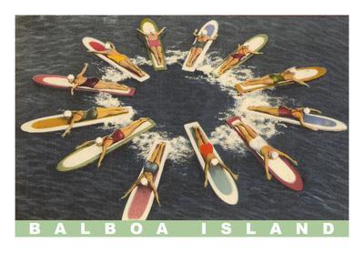 Balboa Island Female Surfers Paddling--Art Print