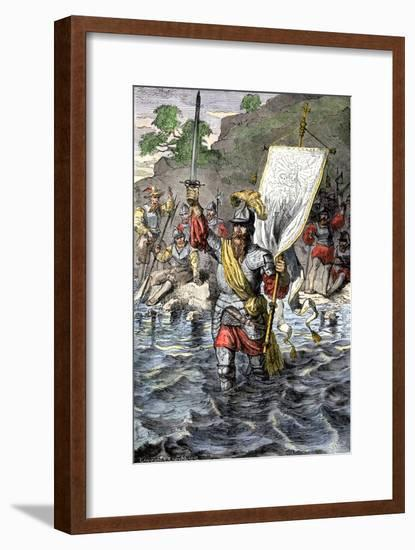 Balboa Raising His Sword to Claim the Pacific Ocean for Spain, c.1513--Framed Giclee Print