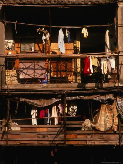 Balconies of Apartment Building in Sheung Wan, Hong Kong-Dallas Stribley-Photographic Print