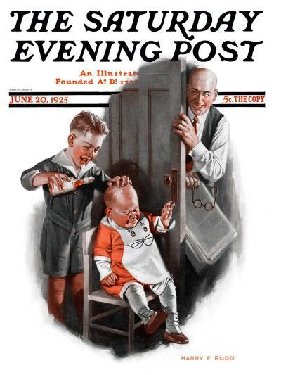 """""""Bald Baby,"""" Saturday Evening Post Cover, June 20, 1925-Harry C. Edwards-Giclee Print"""
