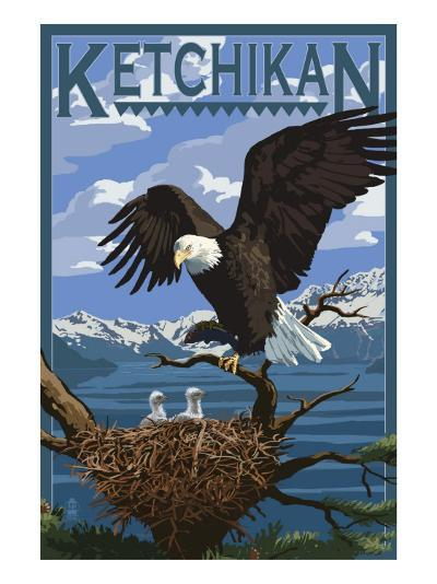 Bald Eagle & Chicks - Ketchikan, Alaska-Lantern Press-Art Print