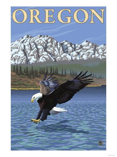 Bald Eagle Diving, Oregon-Lantern Press-Art Print