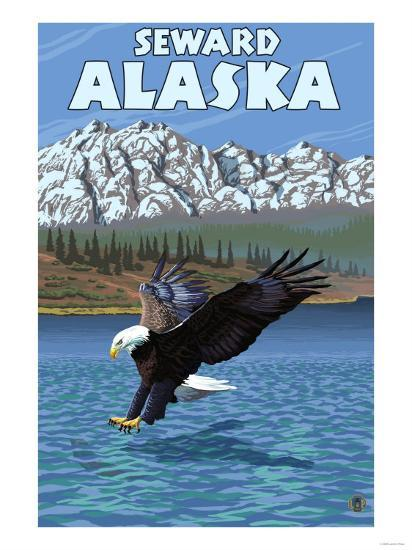 Bald Eagle Diving, Seward, Alaska-Lantern Press-Art Print