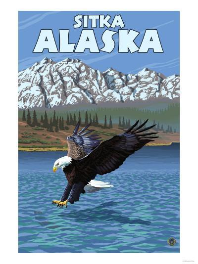 Bald Eagle Diving, Sitka, Alaska-Lantern Press-Art Print