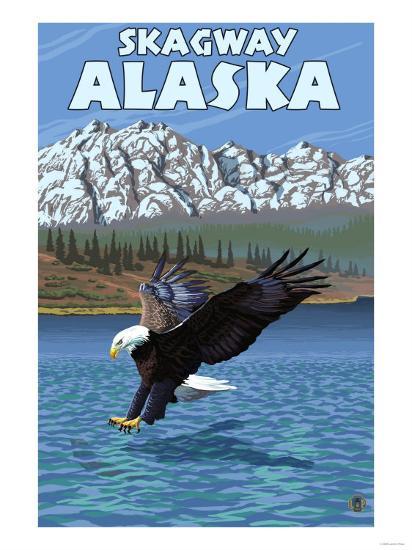 Bald Eagle Diving, Skagway, Alaska-Lantern Press-Art Print