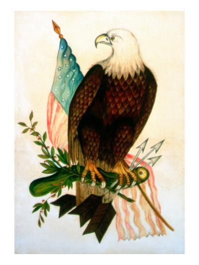 Bald Eagle with Flag-American School-Giclee Print