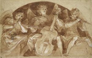 Trois anges musiciens dans une lunette by Baldassare Franceschini