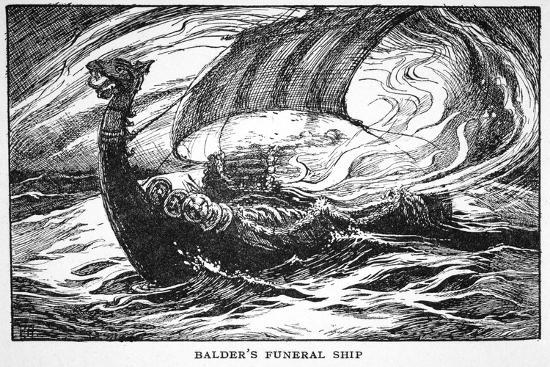 'Balder's Funeral Ship', 1925-Unknown-Giclee Print