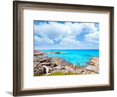 Balearic Formentera Island in Escalo Rocky Beach and Turquoise Sea-Natureworld-Framed Photographic Print