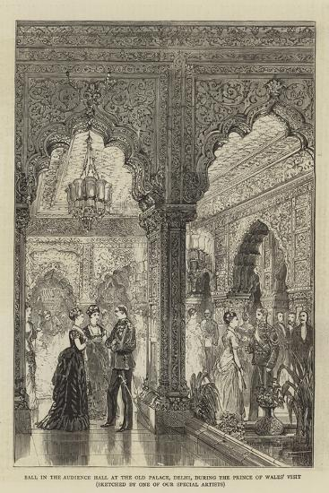 Ball in the Audience Hall at the Old Palace, Delhi, During the Prince of Wales' Visit--Giclee Print