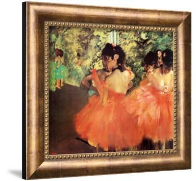 Ballerina in Red-Edgar Degas-Framed Canvas Print