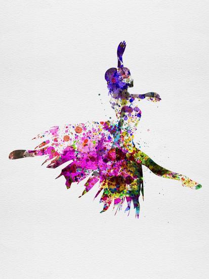 Ballerina on Stage Watercolor 4-Irina March-Art Print