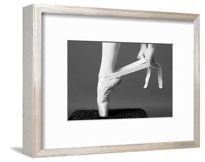Ballerina Tying up Point Shoes--Framed Art Print