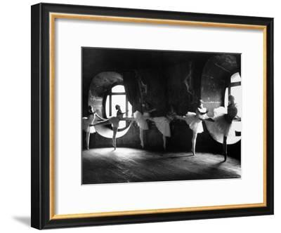 "Ballerinas at Barre Against Round Windows During Rehearsal For ""Swan Lake"" at Grand Opera de Paris-Alfred Eisenstaedt-Framed Premium Photographic Print"