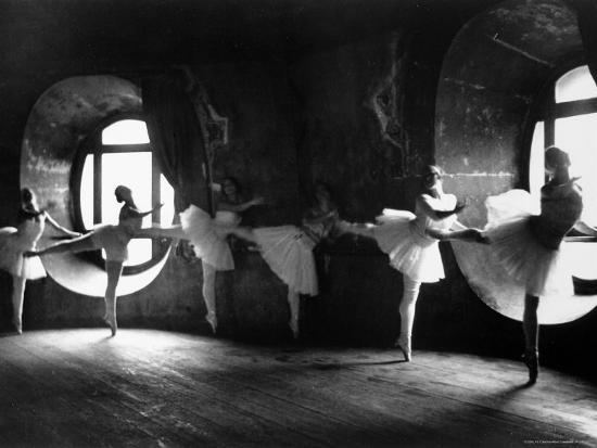 """Ballerinas at Barre Against Round Windows During Rehearsal For """"Swan Lake"""" at Grand Opera de Paris-Alfred Eisenstaedt-Photographic Print"""