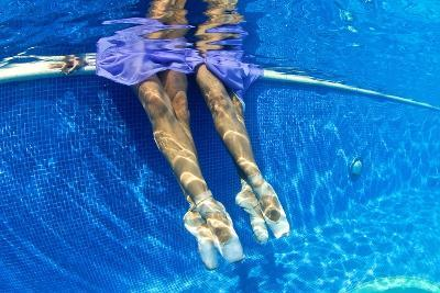 Ballerinas Dancing Underwater in a Swimming Pool-Kike Calvo-Premium Photographic Print