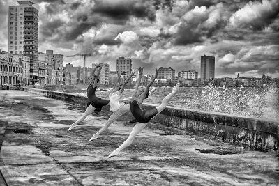Ballerinas from the National Ballet of Cuba Dance on Havana's Malecon-Kike Calvo-Premium Photographic Print