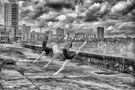 Ballerinas from the National Ballet of Cuba Dance on Havana's Malecon-Kike Calvo-Photographic Print