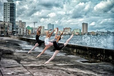 Ballerinas from the National Ballet of Cuba Dance on Havana's Malecon-Kike Calvo-Premium Photographic Print