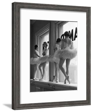 Ballerinas on Window Sill in Rehearsal Room at George Balanchine's School of American Ballet-Alfred Eisenstaedt-Framed Premium Photographic Print
